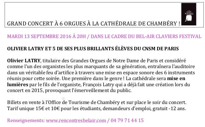 GRAND CONCERT À 6 ORGUES À LA CATHÉDRALE DE CHAMBÉRY
